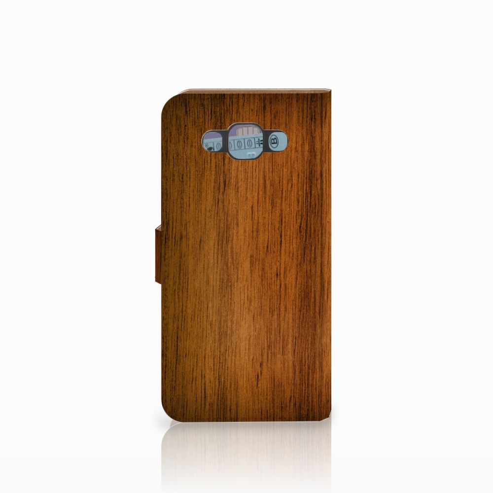 Samsung Galaxy E7 Book Style Case Donker Hout