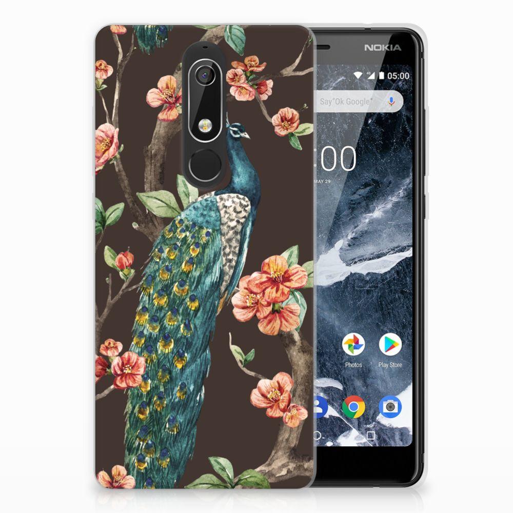 Nokia 5.1 (2018) TPU Hoesje Design Pauw met Bloemen