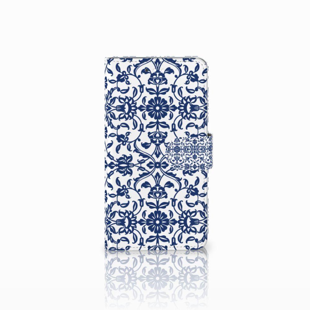 Huawei Ascend G7 Uniek Boekhoesje Flower Blue