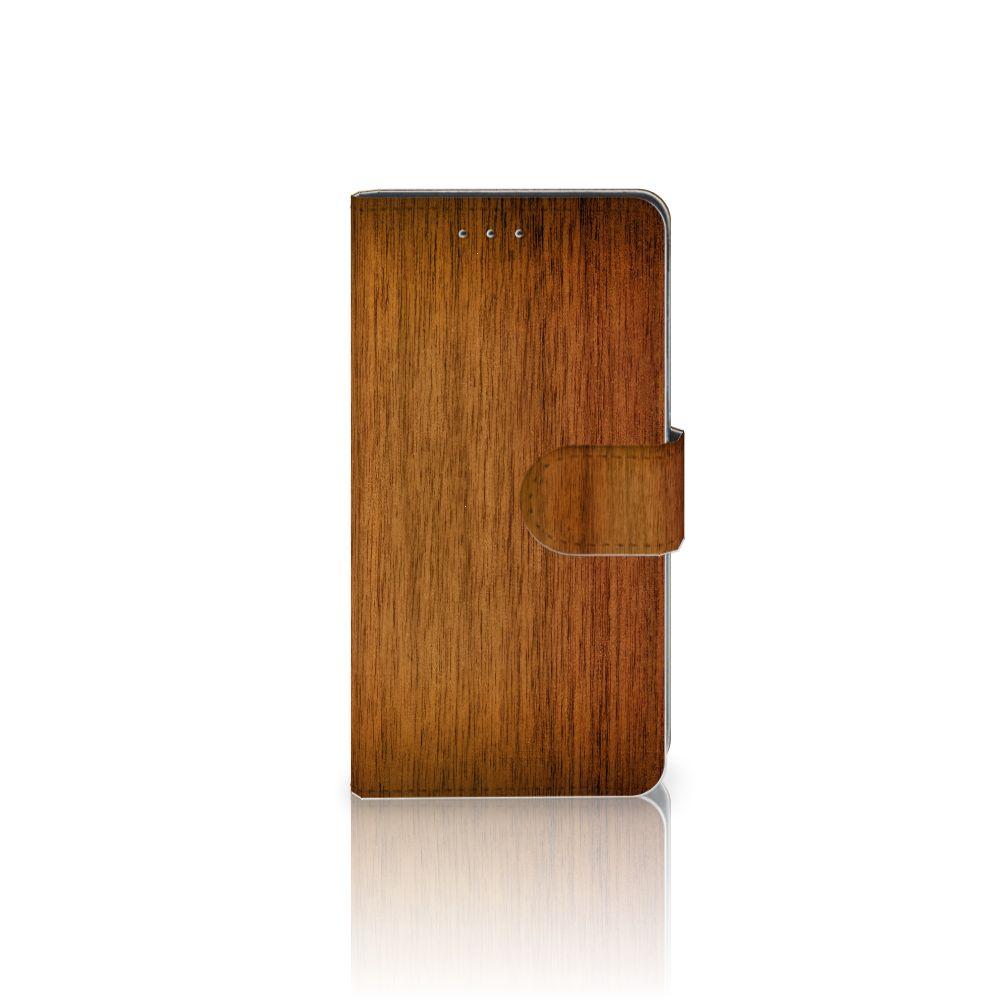 Motorola Moto G 3e Generatie Book Style Case Donker Hout