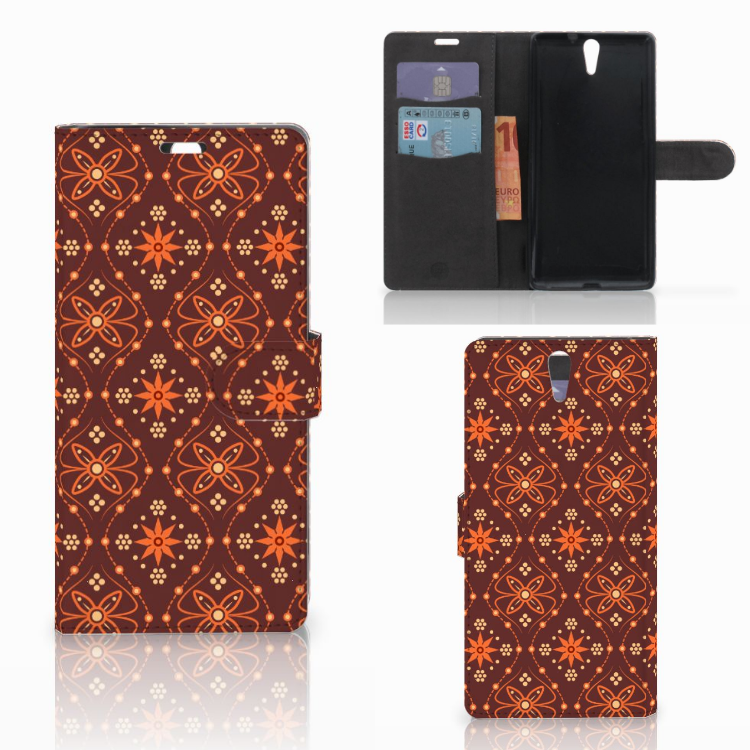 Sony Xperia C5 Ultra Telefoon Hoesje Batik Brown