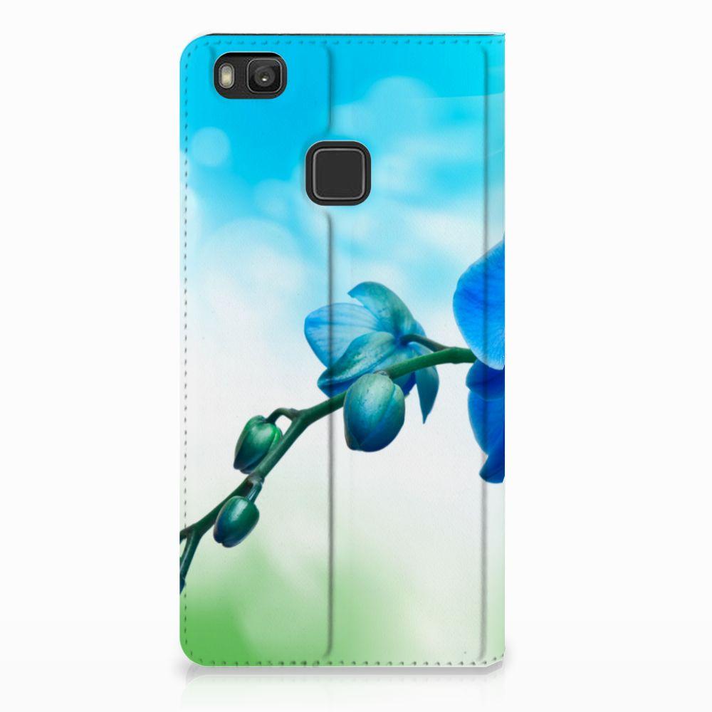 Huawei P9 Lite Standcase Hoesje Design Orchidee Blauw