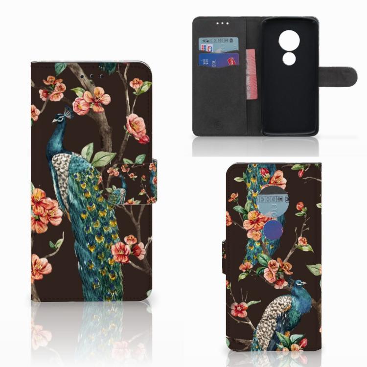 Motorola Moto E5 Telefoonhoesje met Pasjes Pauw met Bloemen