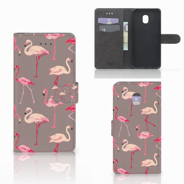 Samsung Galaxy J7 (2018) Telefoonhoesje met Pasjes Flamingo