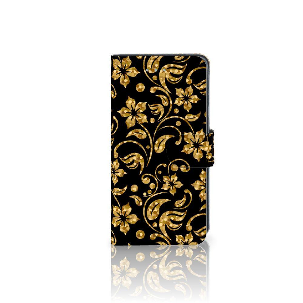 Samsung Galaxy J3 2016 Boekhoesje Design Gouden Bloemen