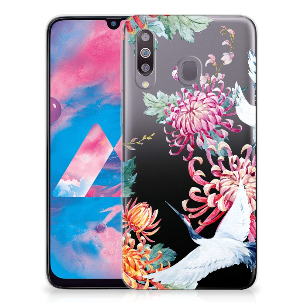 Samsung Galaxy M30 TPU Hoesje Bird Flowers