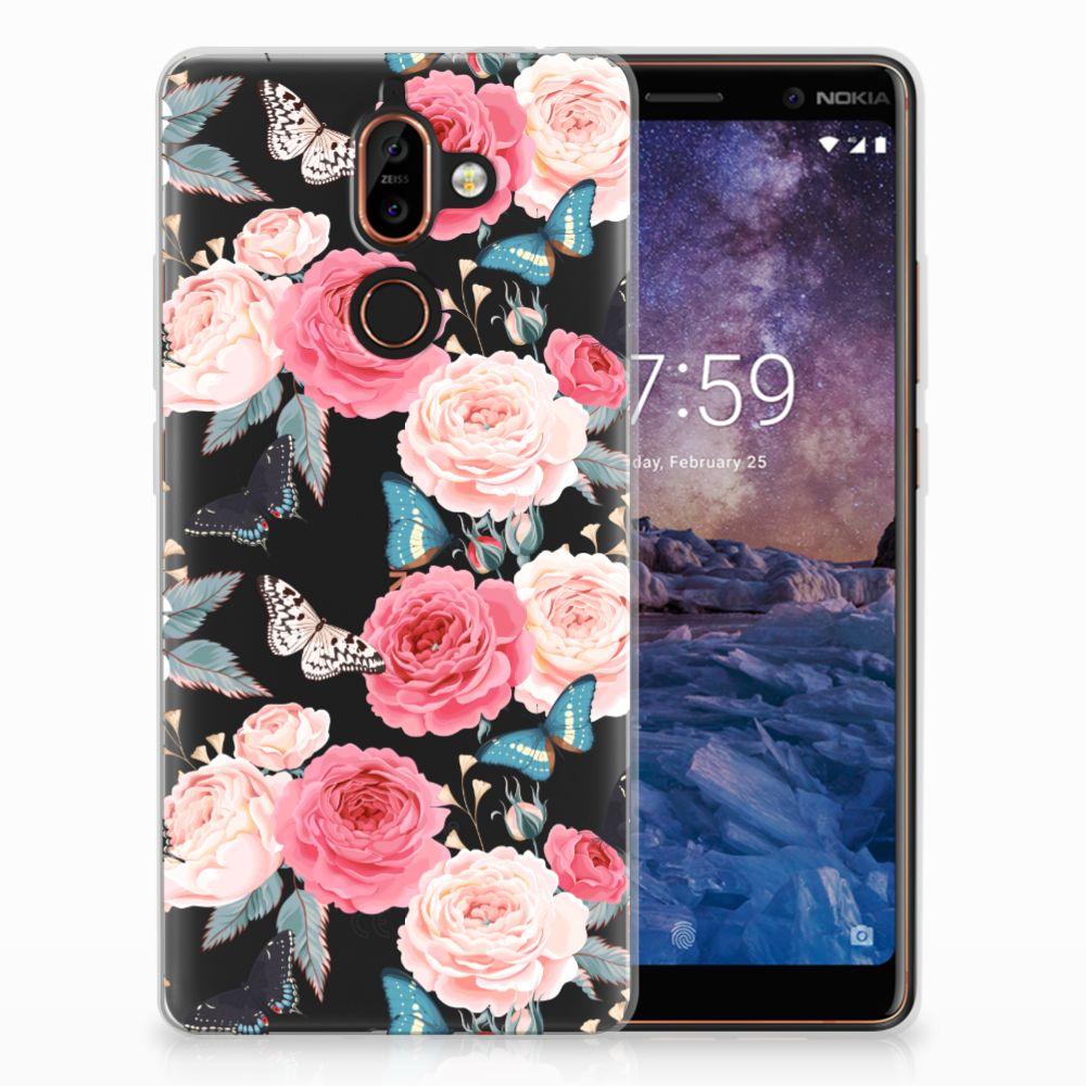 Nokia 7 Plus Uniek TPU Hoesje Butterfly Roses