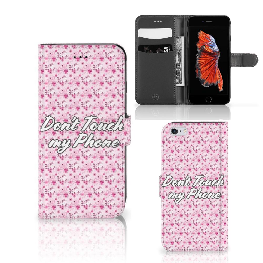 Apple iPhone 6 Plus   6s Plus Portemonnee hoesje Flowers Pink DTMP