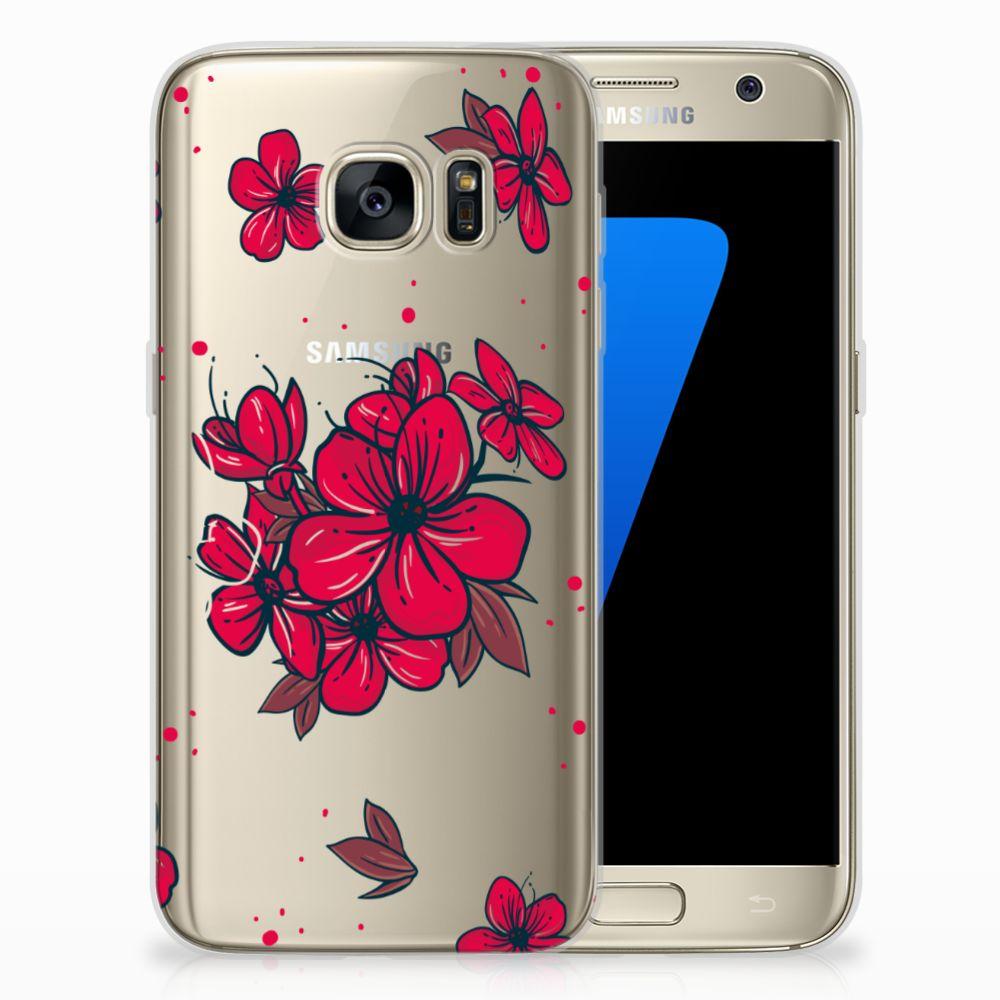 Samsung Galaxy S7 TPU Hoesje Design Blossom Red