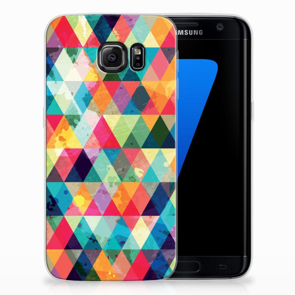 Samsung Galaxy S7 Edge Uniek TPU Hoesje Geruit