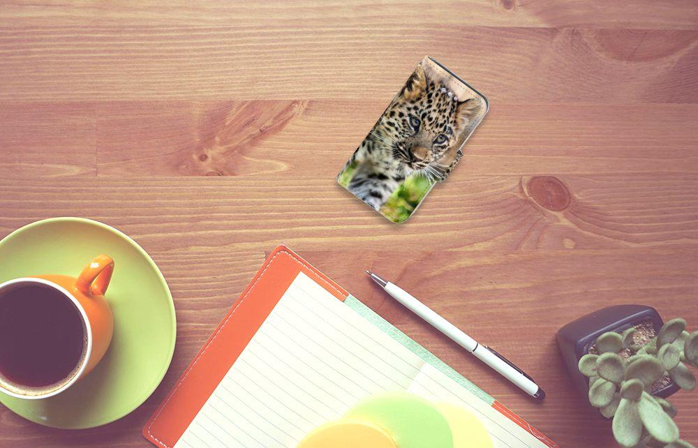 Apple iPhone 4 | 4S Telefoonhoesje met Pasjes Baby Luipaard