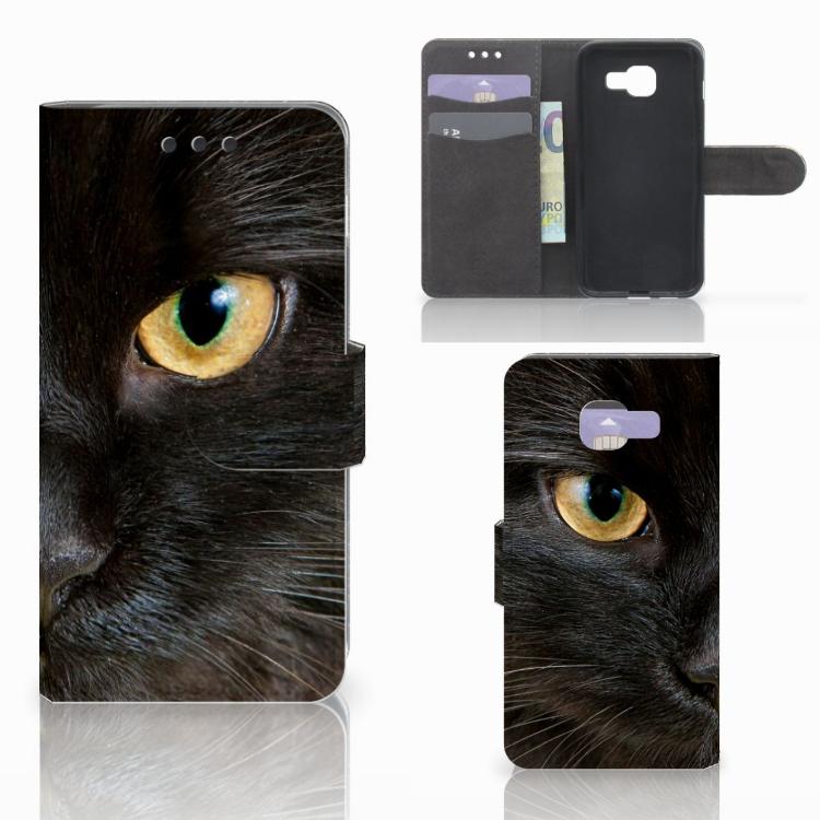 Samsung Galaxy A3 2016 Telefoonhoesje met Pasjes Zwarte Kat