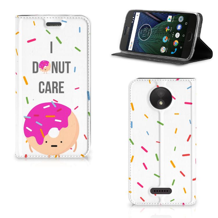Motorola Moto C Plus Flip Style Cover Donut Roze