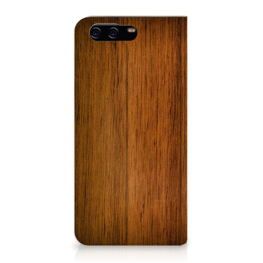 Huawei P10 Uniek Standcase Hoesje Donker Hout