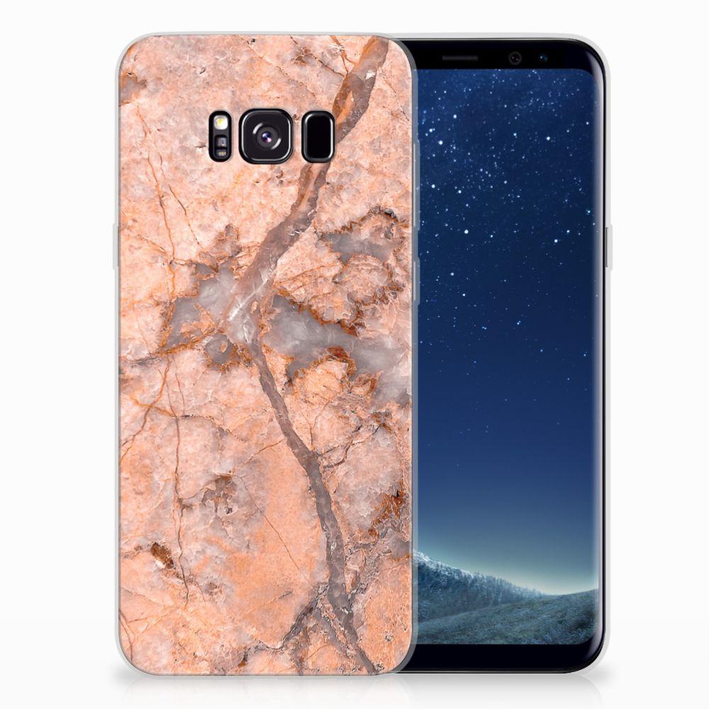 Samsung Galaxy S8 Plus TPU Siliconen Hoesje Marmer Oranje