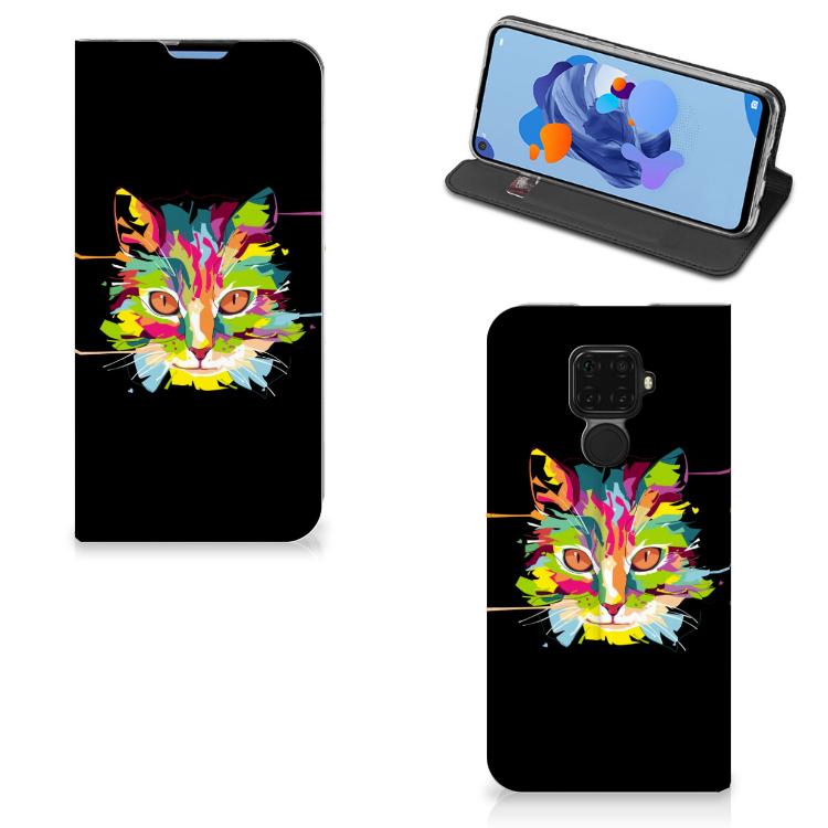 Huawei Mate 30 Lite Magnet Case Cat Color