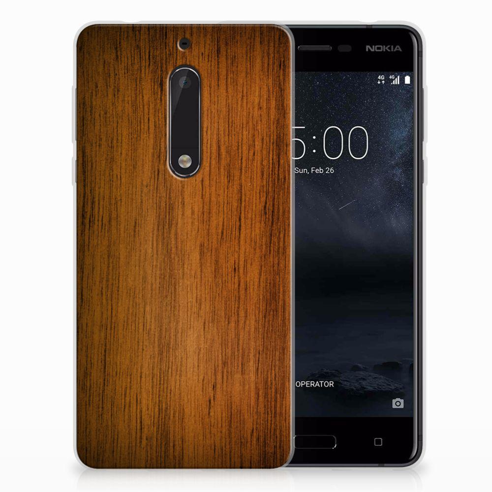 Nokia 5 Uniek TPU Hoesje Donker Hout
