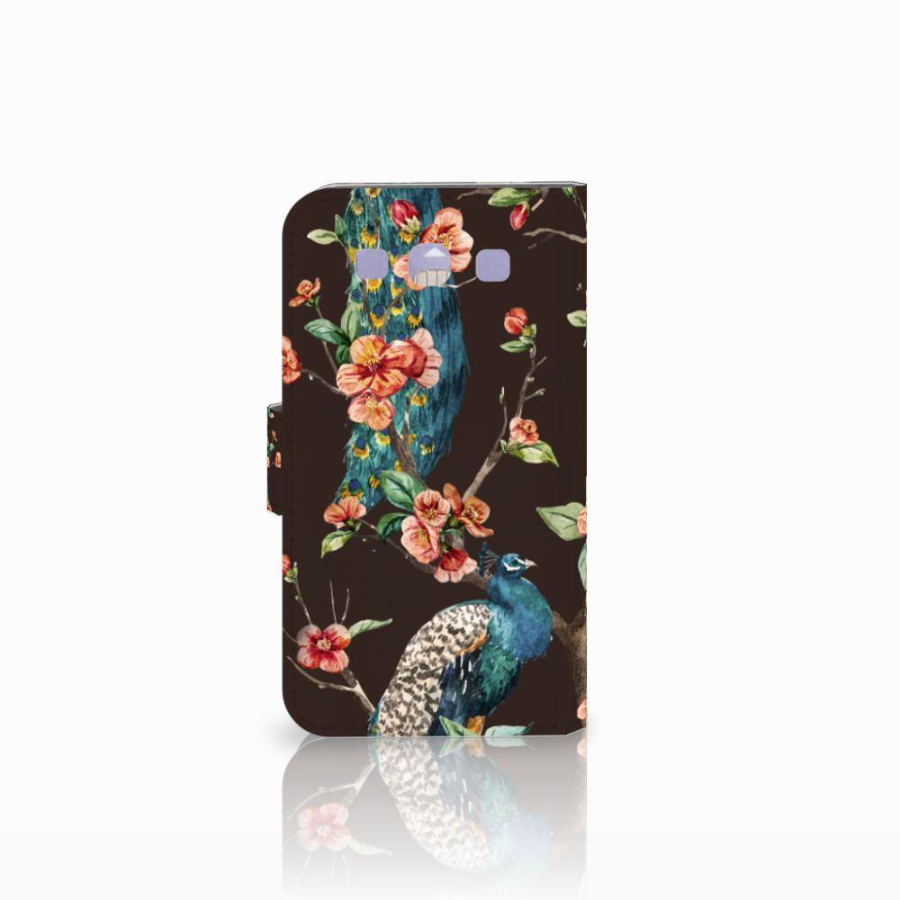 Samsung Galaxy S3 i9300 Telefoonhoesje met Pasjes Pauw met Bloemen