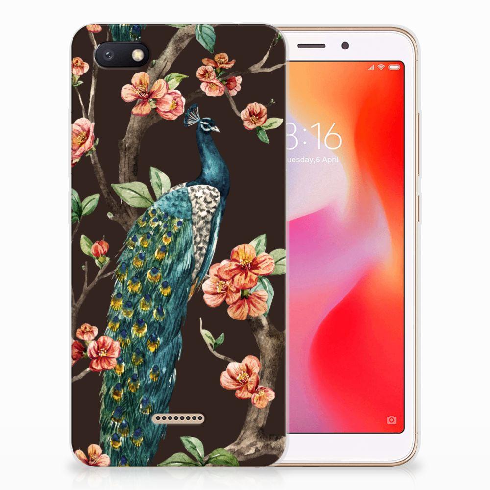 Xiaomi Redmi 6A TPU Hoesje Pauw met Bloemen