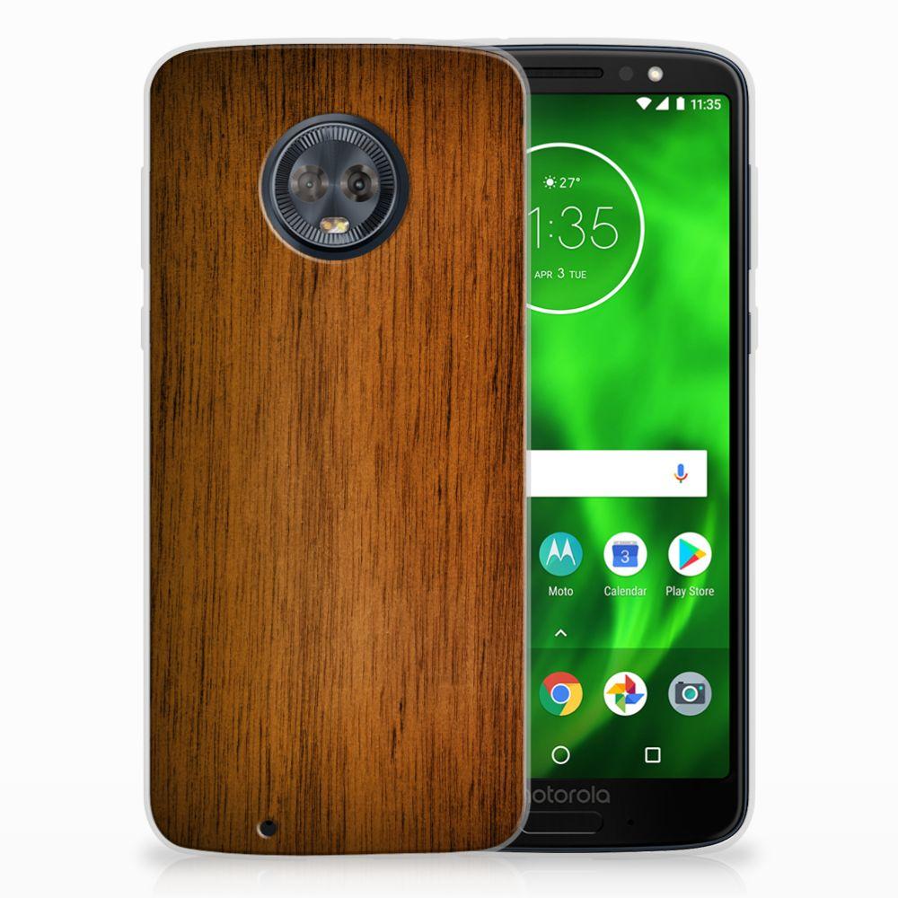 Motorola Moto G6 Uniek TPU Hoesje Donker Hout