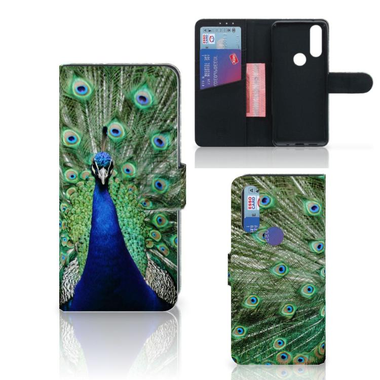 Motorola One Action Telefoonhoesje met Pasjes Pauw