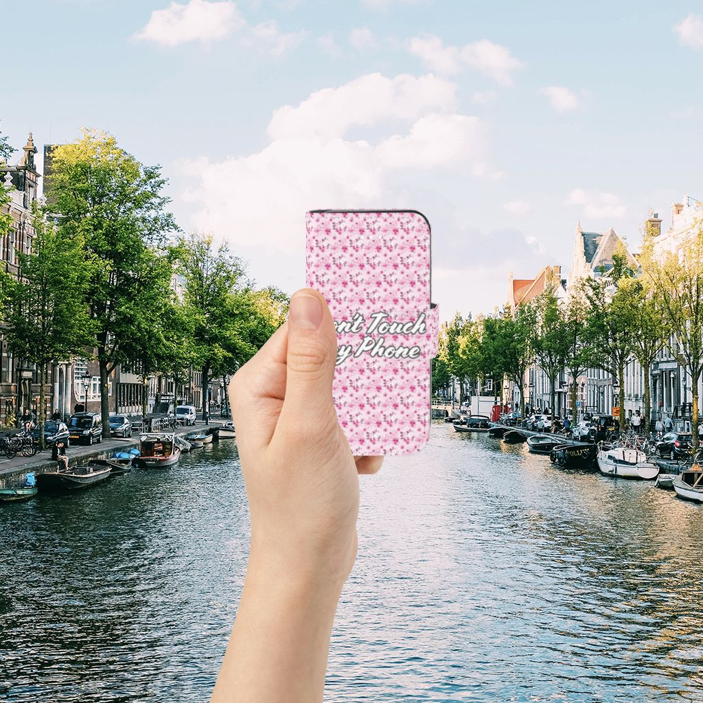 Apple iPhone 5 | 5s | SE Uniek Boekhoesje Flowers Pink DTMP