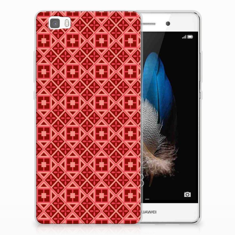 Huawei Ascend P8 Lite Uniek TPU Hoesje Batik Red