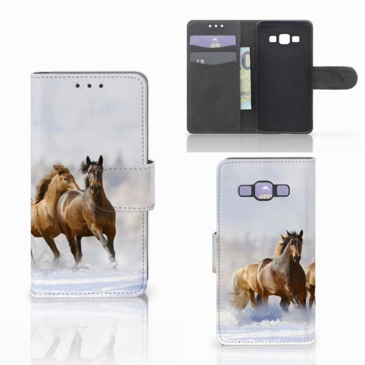 Samsung Galaxy A3 2015 Telefoonhoesje met Pasjes Paarden
