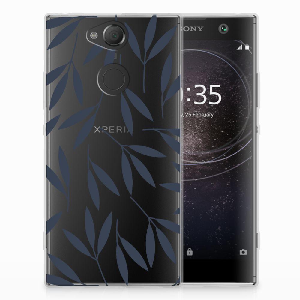Sony Xperia XA2 TPU Hoesje Design Leaves Blue