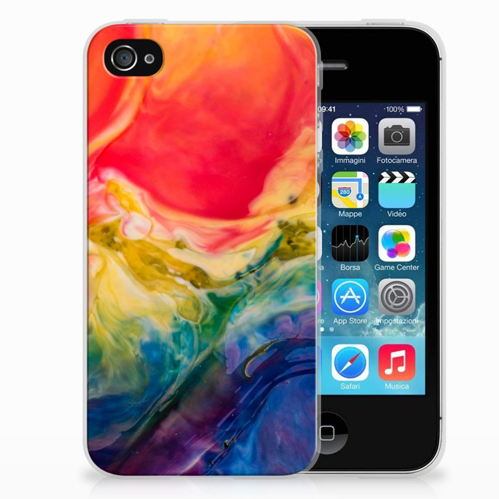 Apple iPhone 4 | 4s Uniek TPU Hoesje Watercolor Dark