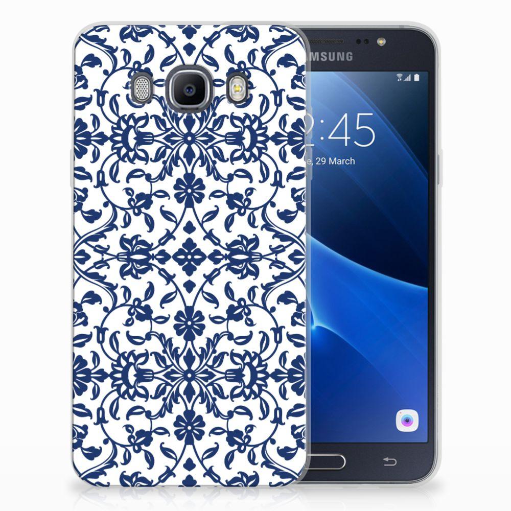 Samsung Galaxy J7 2016 TPU Hoesje Flower Blue