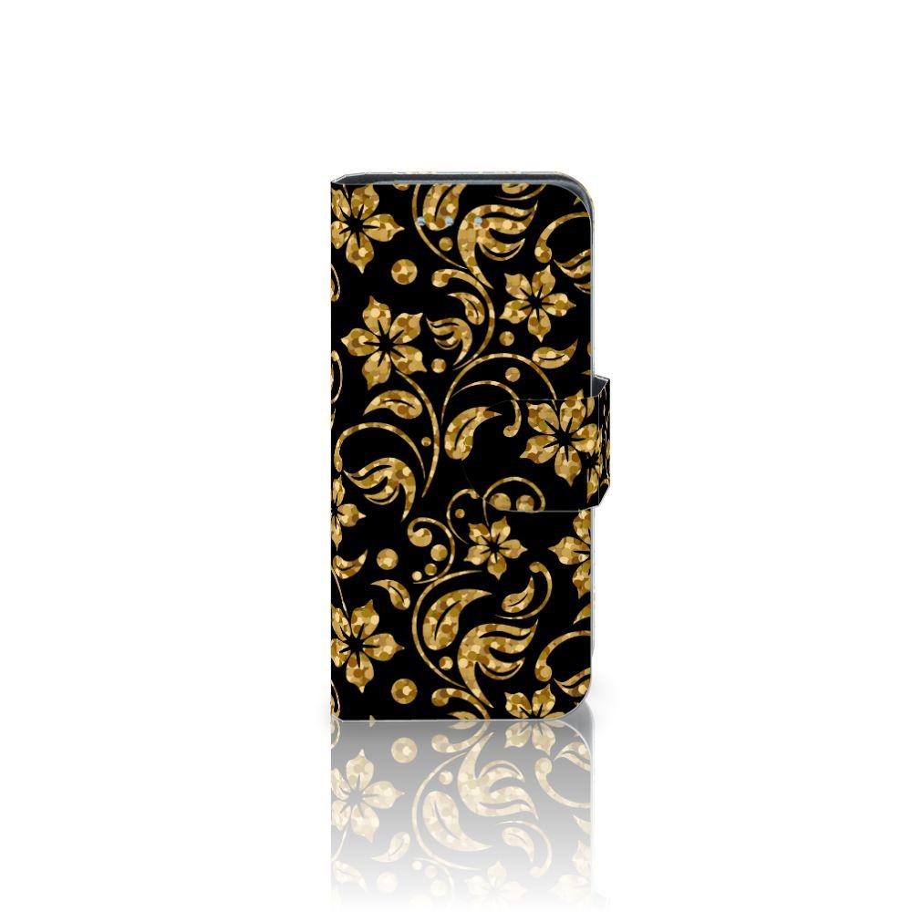 Samsung Galaxy S4 Mini i9190 Boekhoesje Design Gouden Bloemen