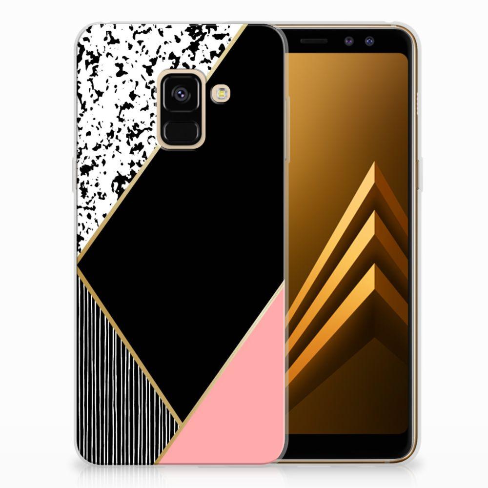 Samsung Galaxy A8 (2018) Uniek TPU Hoesje Black Pink Shapes