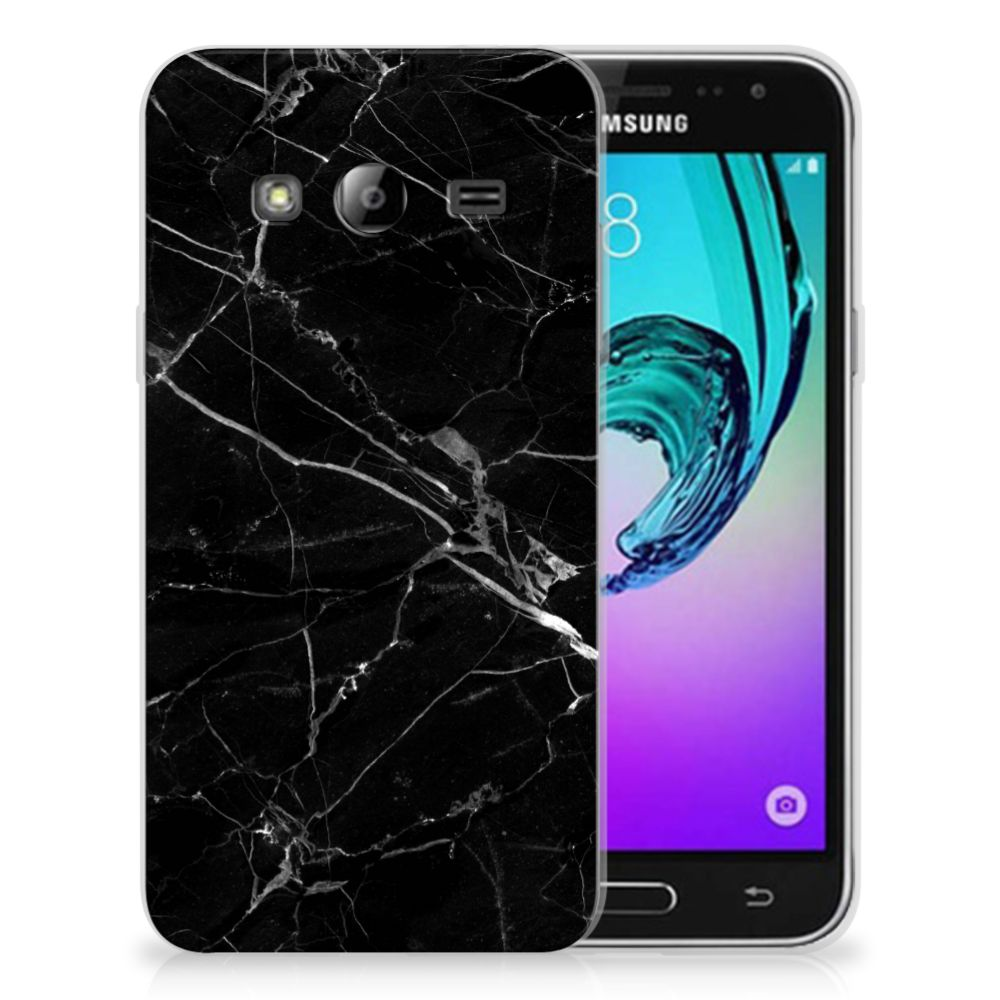Samsung Galaxy J3 2016 TPU Siliconen Hoesje Marmer Zwart