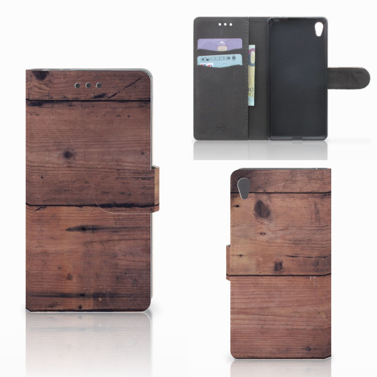 Sony Xperia E5 Book Style Case Old Wood