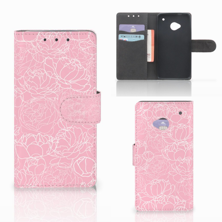 HTC One M7 Wallet Case White Flowers