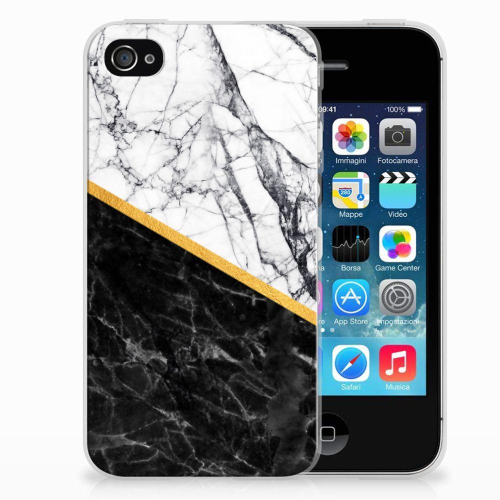 Apple iPhone 4   4s TPU Siliconen Hoesje Marmer Wit Zwart