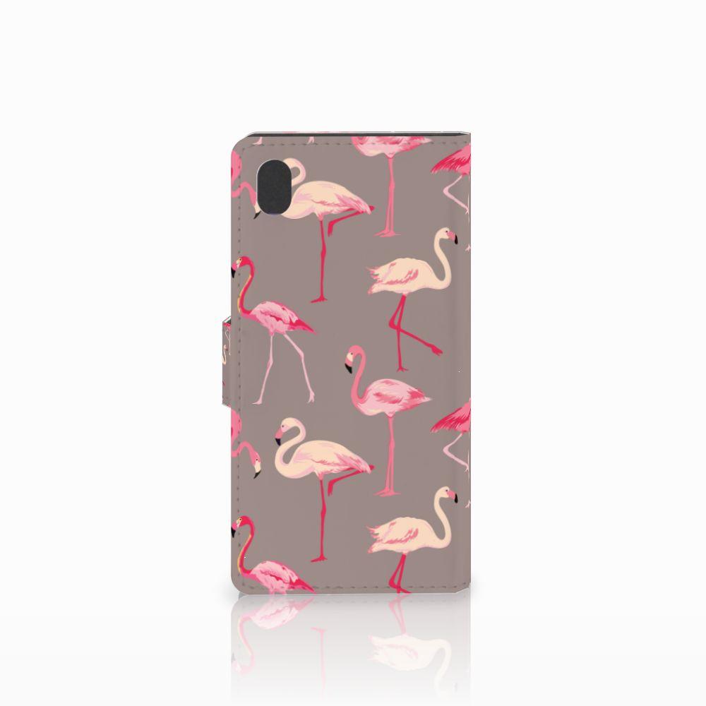 Sony Xperia M4 Aqua Telefoonhoesje met Pasjes Flamingo