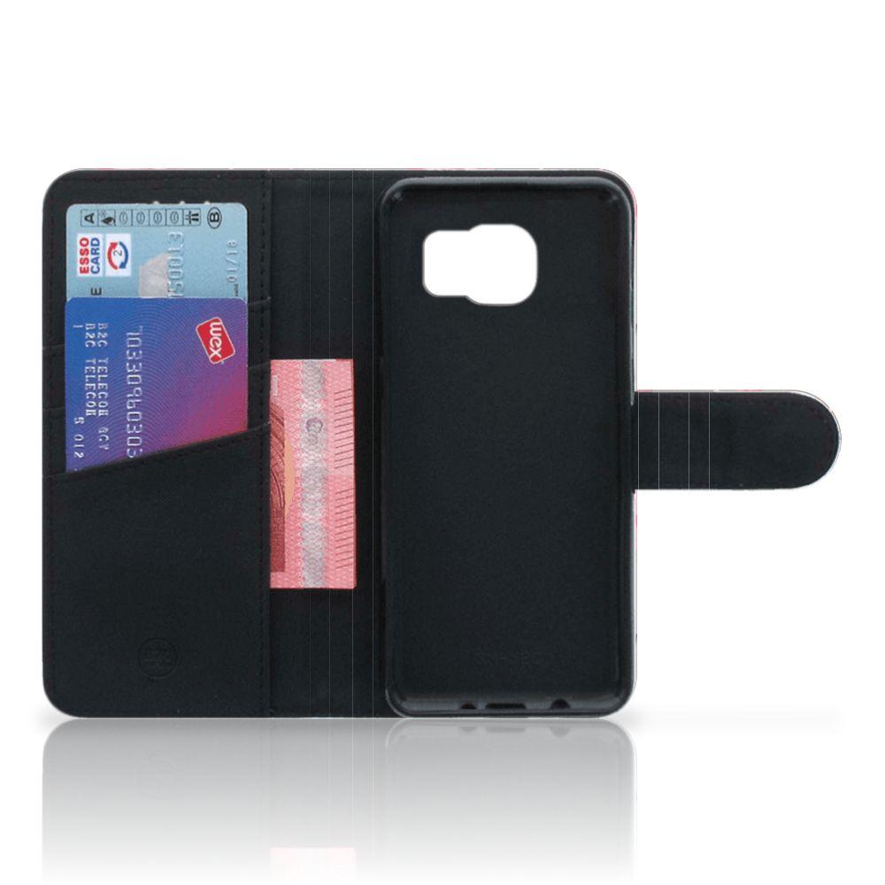 Samsung Galaxy S6 | S6 Duos Telefoonhoesje met Pasjes Flamingo