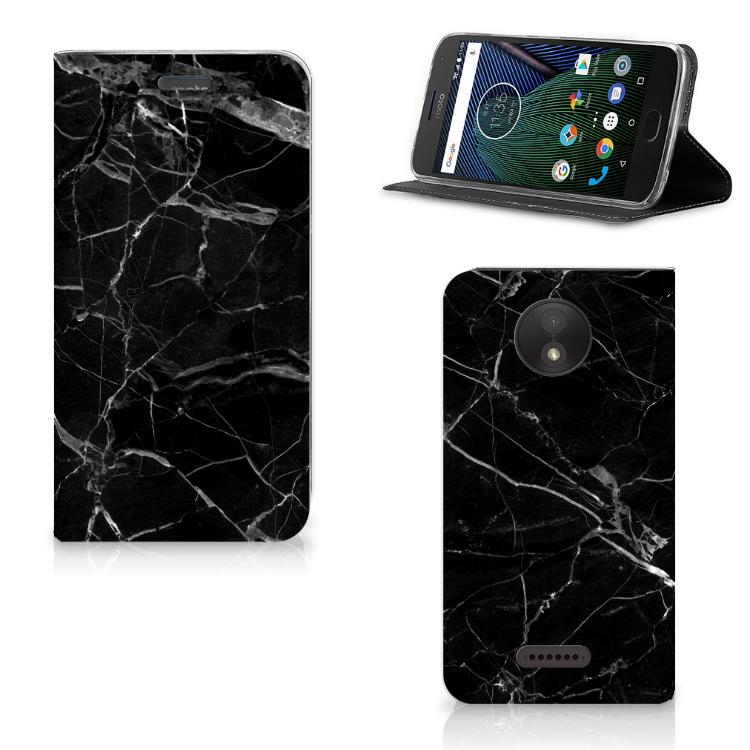 Motorola Moto C Plus Standcase Marmer Zwart