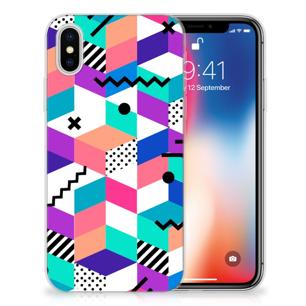 Apple iPhone X | Xs TPU Hoesje Design Blocks Colorful