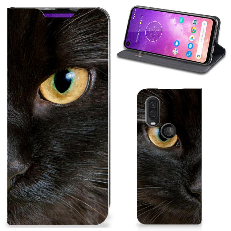 Motorola One Vision Hoesje maken Zwarte Kat