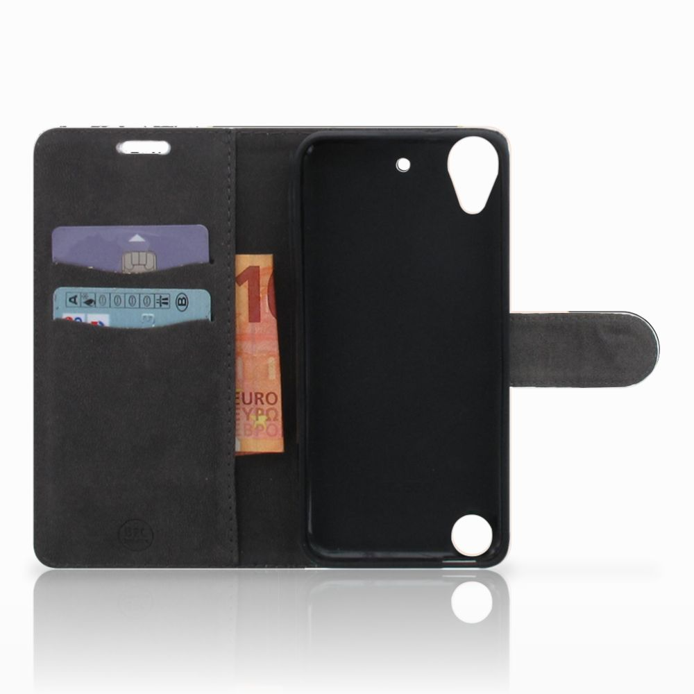 HTC Desire 530 Bookcase Zwart Roze Vormen