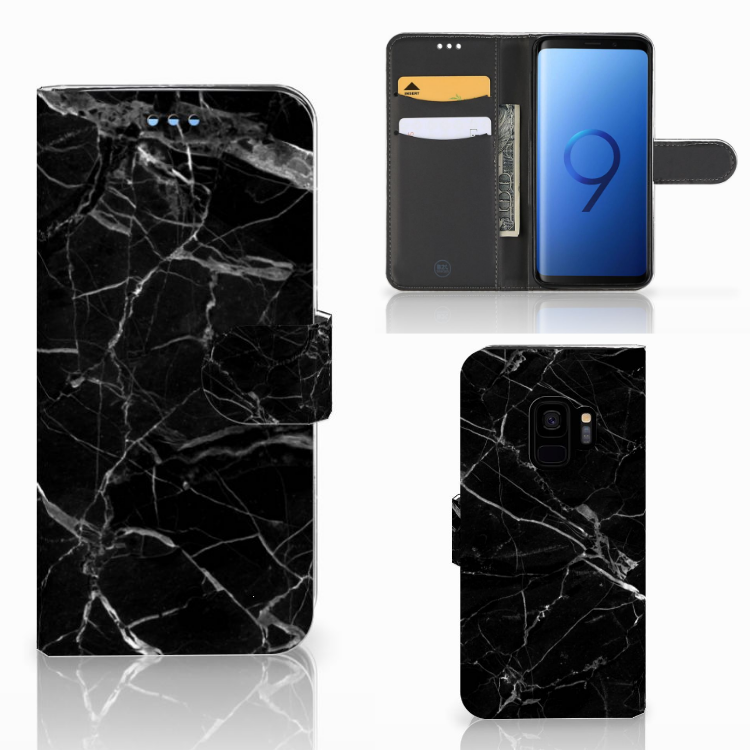 Samsung Galaxy S9 Bookcase Marmer Zwart - Origineel Cadeau Vader