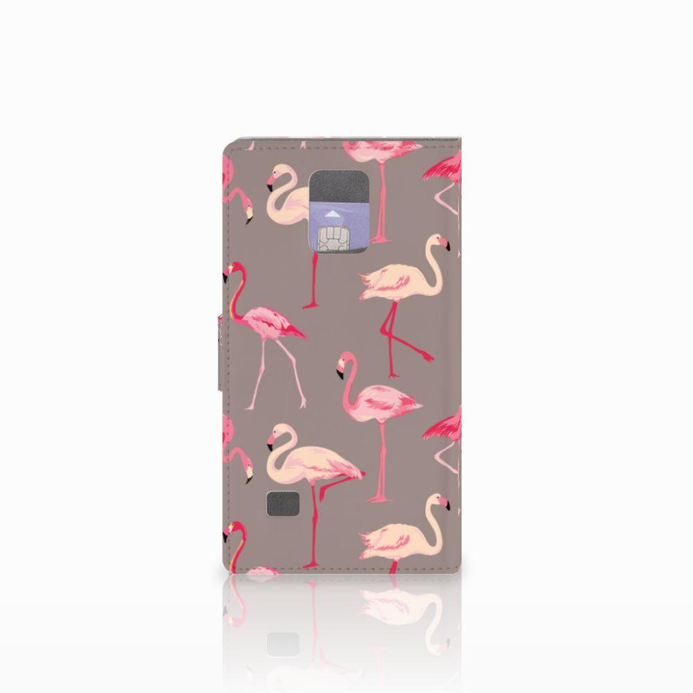 Samsung Galaxy Note 4 Telefoonhoesje met Pasjes Flamingo