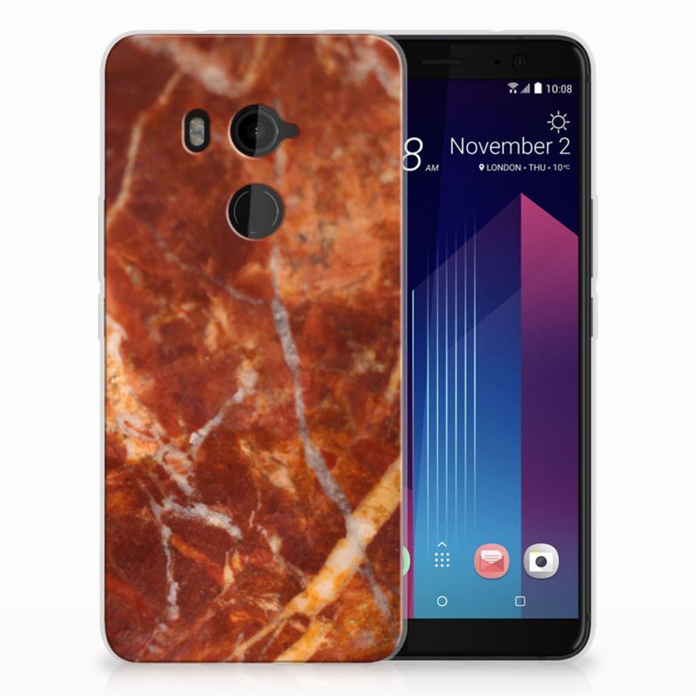 HTC U11 Plus TPU Hoesje Design Marmer Bruin