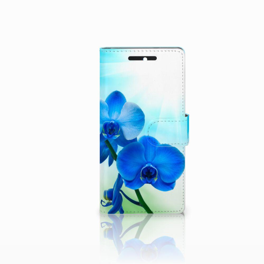 HTC Desire 628 Boekhoesje Design Orchidee Blauw