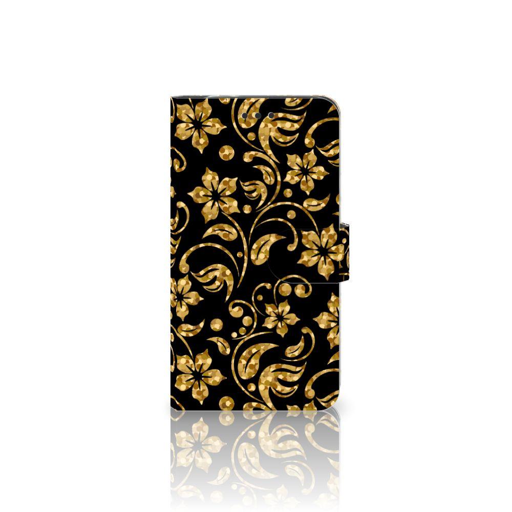 Motorola Moto Z2 Force Boekhoesje Design Gouden Bloemen
