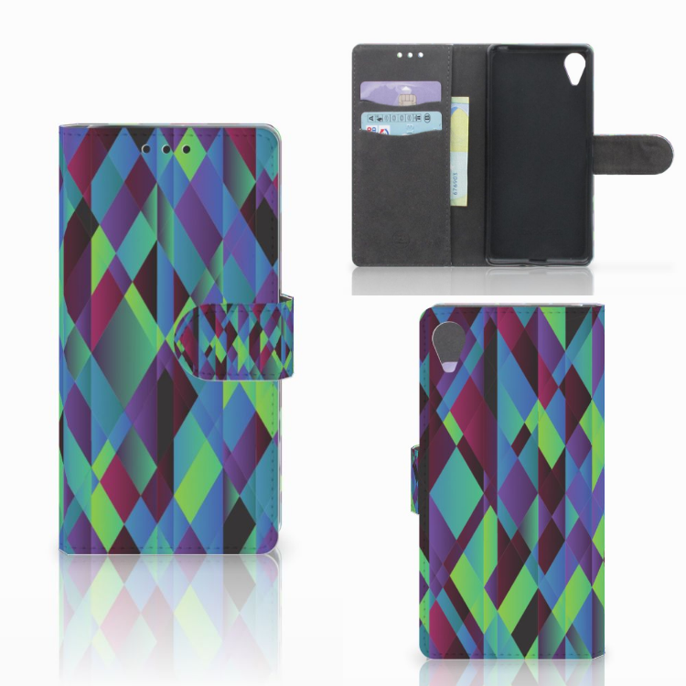 Sony Xperia X Performance Bookcase Abstract Green Blue