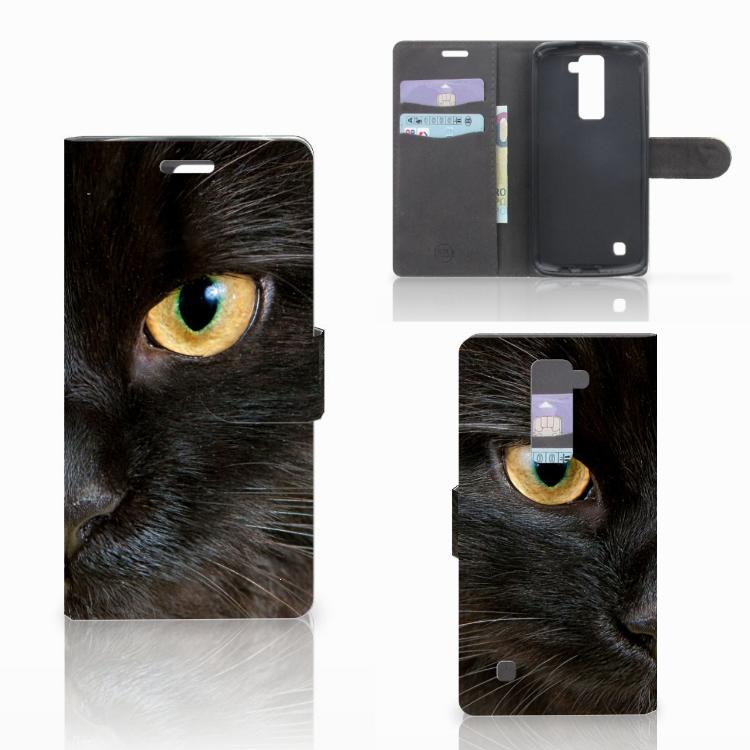 LG K10 2015 Telefoonhoesje met Pasjes Zwarte Kat